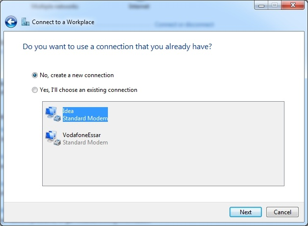 Choose the connection method it may be either internet connection or