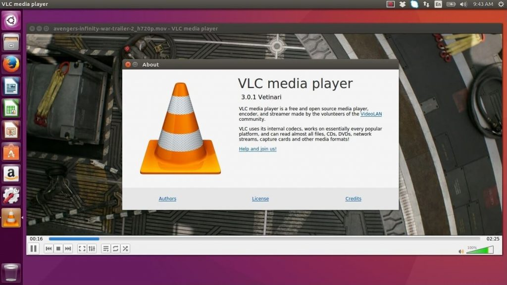 Install VLC Media Player on Ubuntu 16.04 - VLC Media Player Running on Ubuntu 16.04