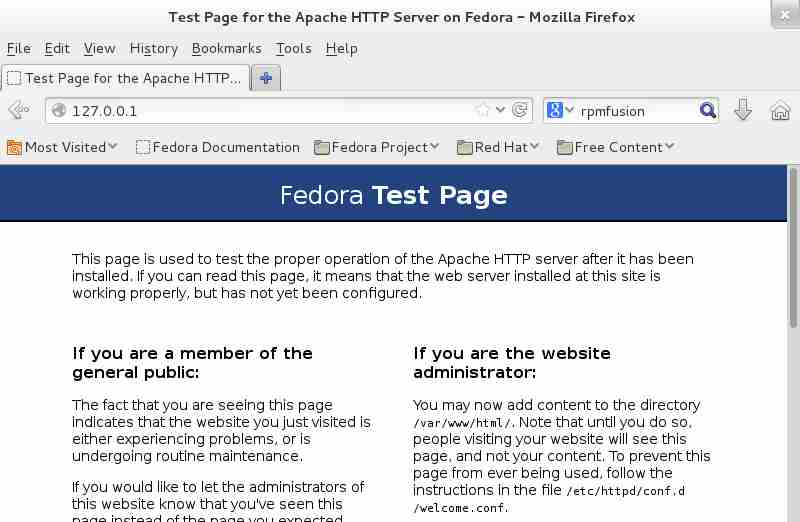 Fedora Apache Test Page