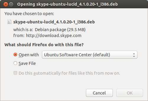 Ubuntu 13.04 Install Skype Open With