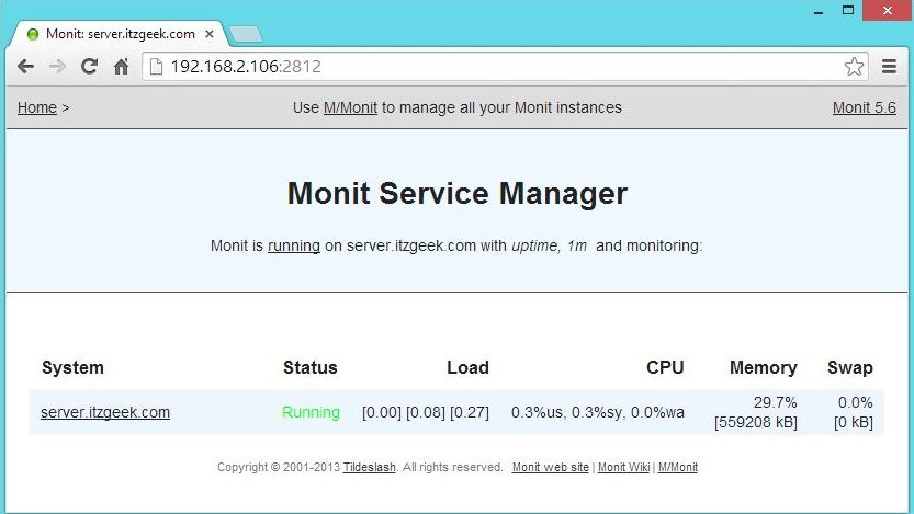 CentOS 7 - Monit 5.6 DashBoard