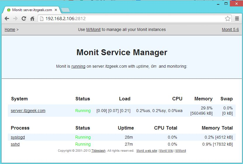 CentOS 7 - Monit with Services
