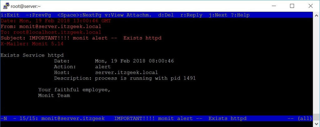 Install Monit on CentOS 7 - HTTP Service started by Monit