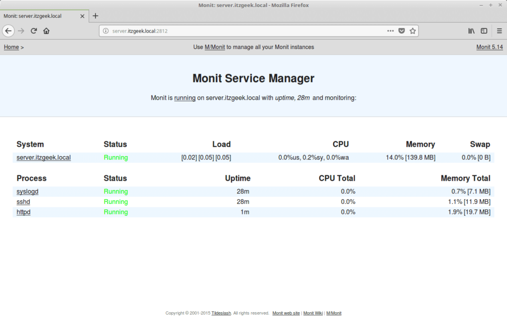 Install Monit on CentOS 7 - Monit DashBoard with Services