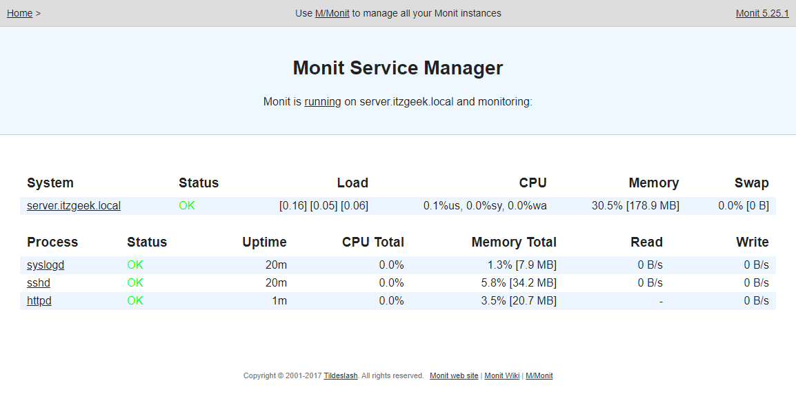 Install Monit on CentOS 7 - Monitoring with Services
