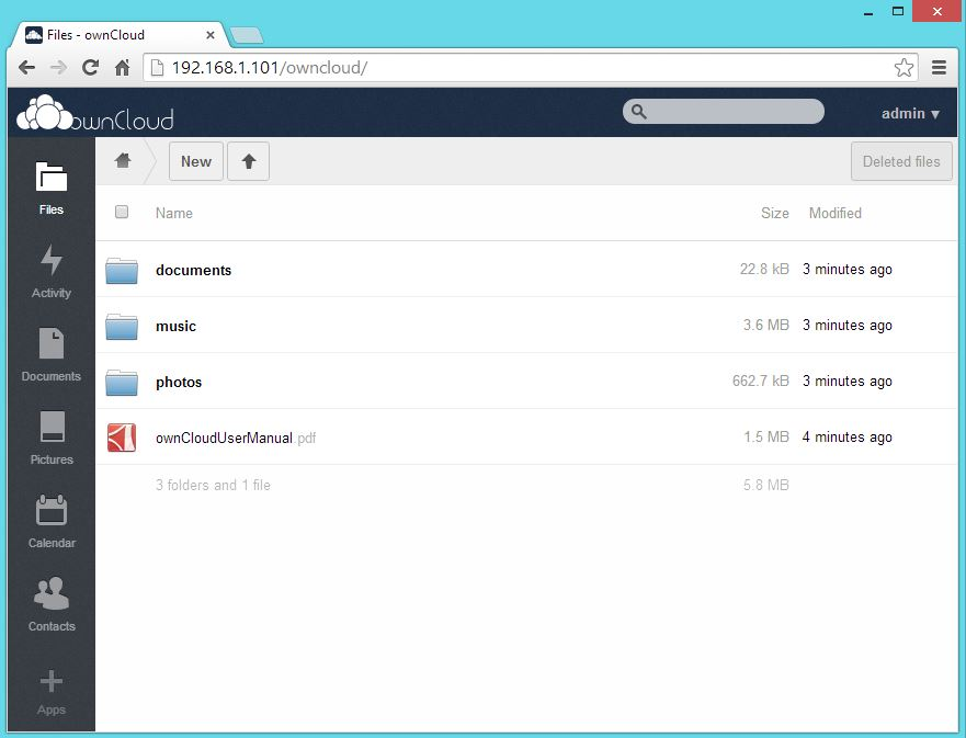OwnCloud Home with Uploaded Files