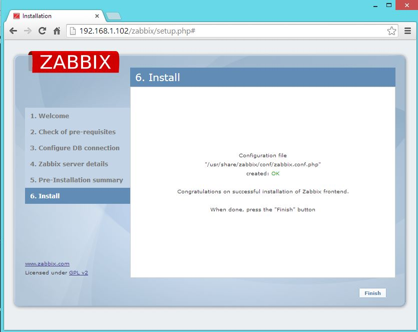 Zabbix Setup - Finish