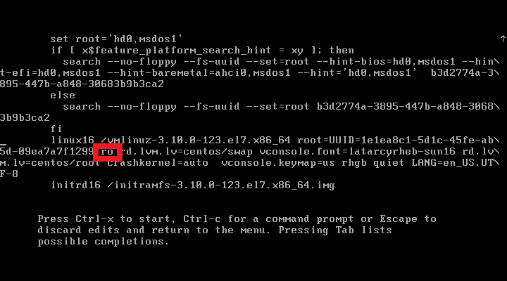 CentOS 7  - Reset root password - Before changing Kernel Argument RO
