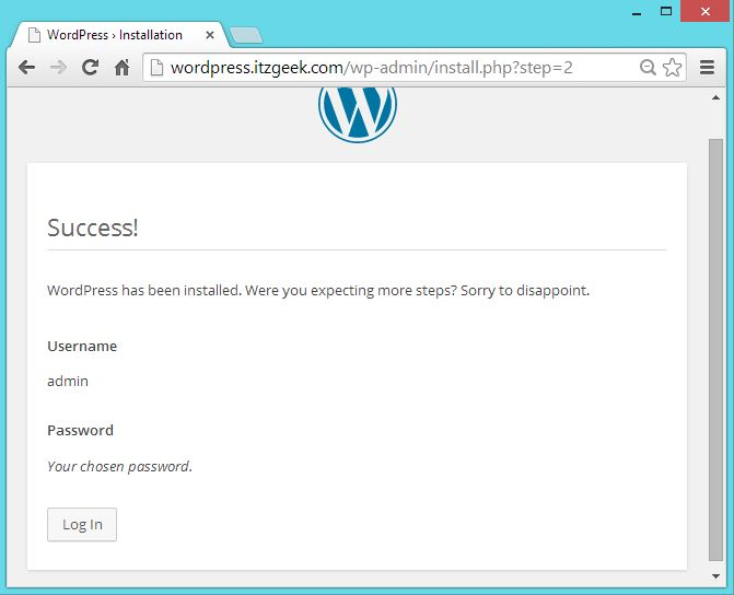 CentOS 7 -  WordPress with Nginx - Installed Sucessfully