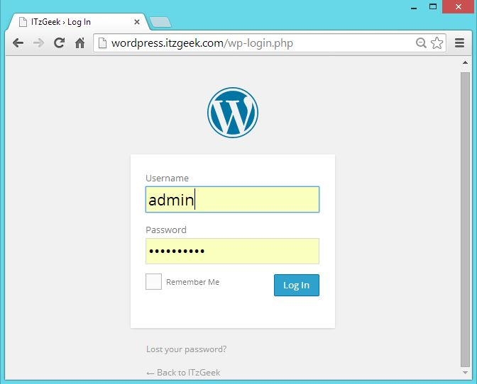CentOS 7 -  WordPress with Nginx - Login page