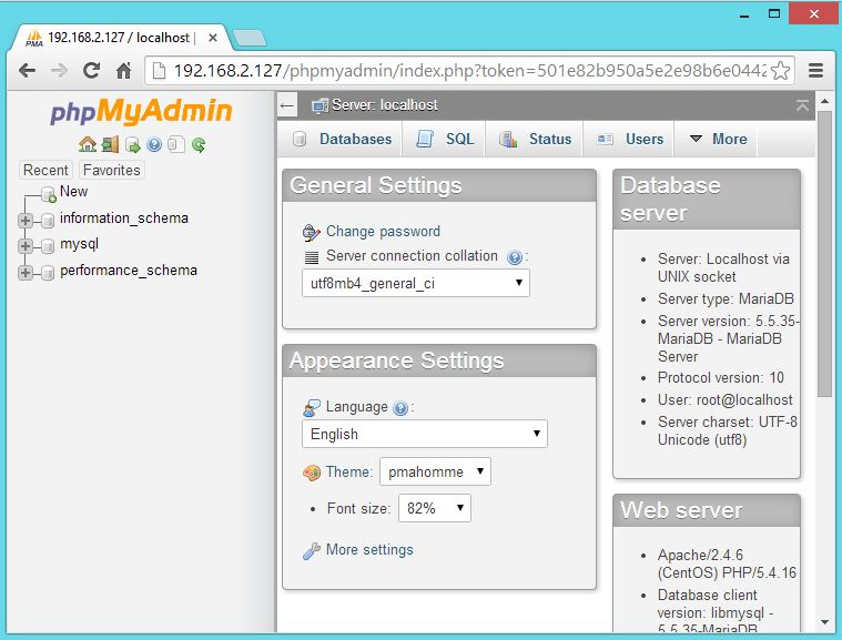CentOS 7 - phpMyadmin Home Page