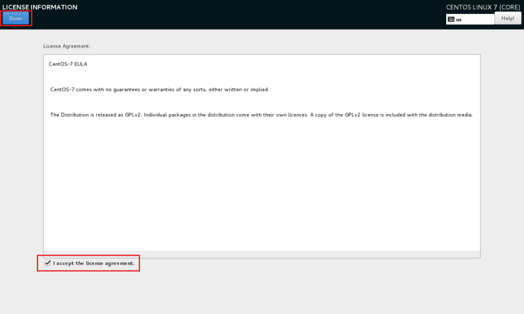 Install Gnome GUI on CentOS 7 - License Agreement