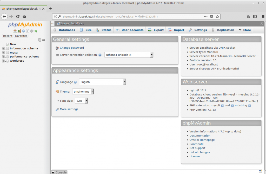Install phpMyAdmin with Nginx on CentOS 7 - phpMyAdmin Home Page