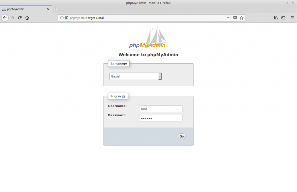 Install phpMyAdmin with Nginx on CentOS 7 - phpMyAdmin Login Page