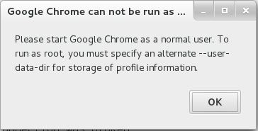 Run Google Chrome as root on CentOS 7- Google Chrome Startup Error