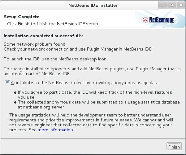Install NetBeans IDE 8.0.1 on CentOS 7 - NetBeans IDE 8.0.1 Installation Finished