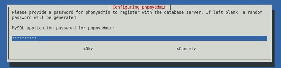 Install phpMyAdmin with Nginx on LinuxMint 19 - Enter Password