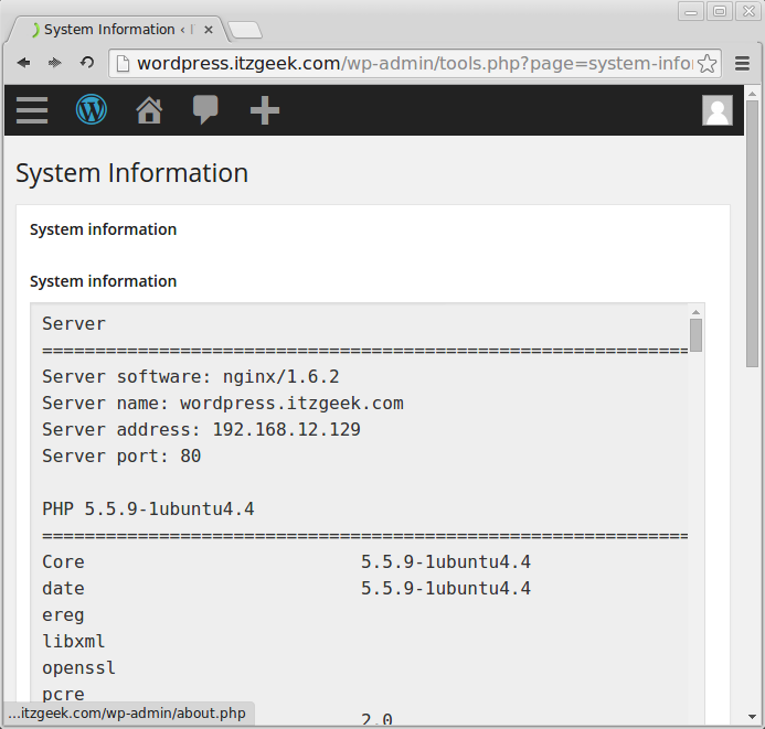 Linux Mint 17 - Nginx With WordPress Server Information