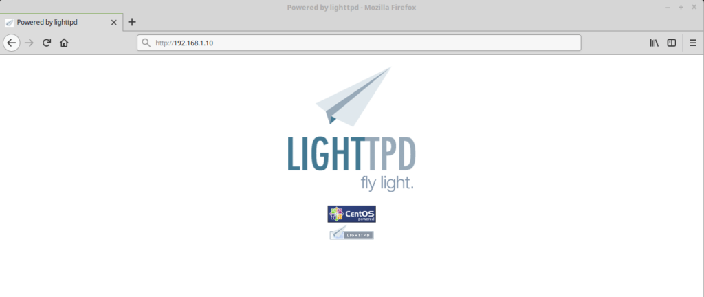 Install Lighttpd With PHP FPM And MariaDB on CentOS 7 - Lighttpd's Default Page