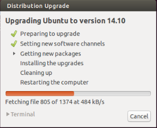 Ubuntu 14.10 Upgrade -  Downloading Packages