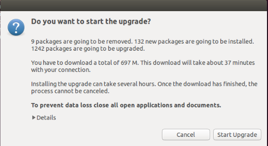 Ubuntu 14.10 Upgrade - Start Upgrade