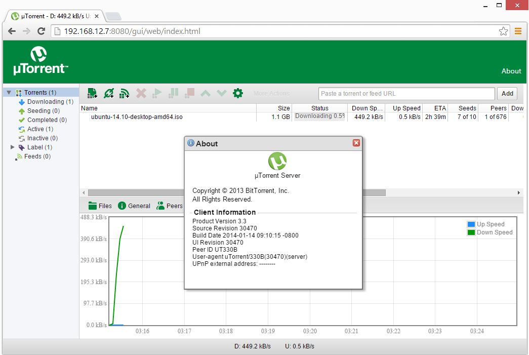 Ubuntu 14.10 - Utorrent Web Interface
