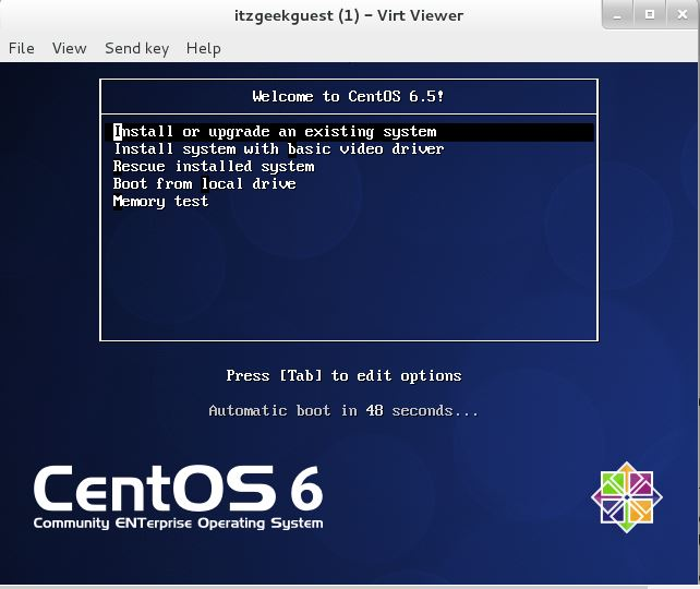 Install KVM (QEMU) on CentOS 7 - Guest Installation command Line Virt Viewer