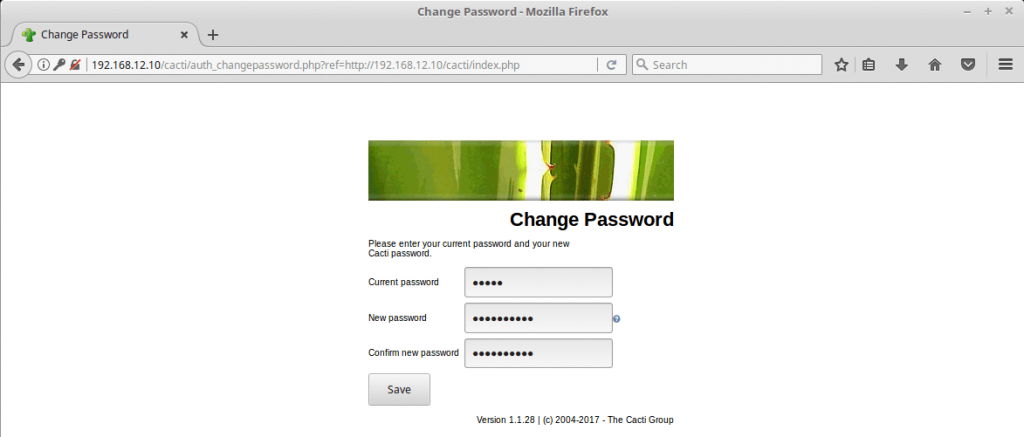 Install Cacti on CentOS 7 - Cacti Change Password
