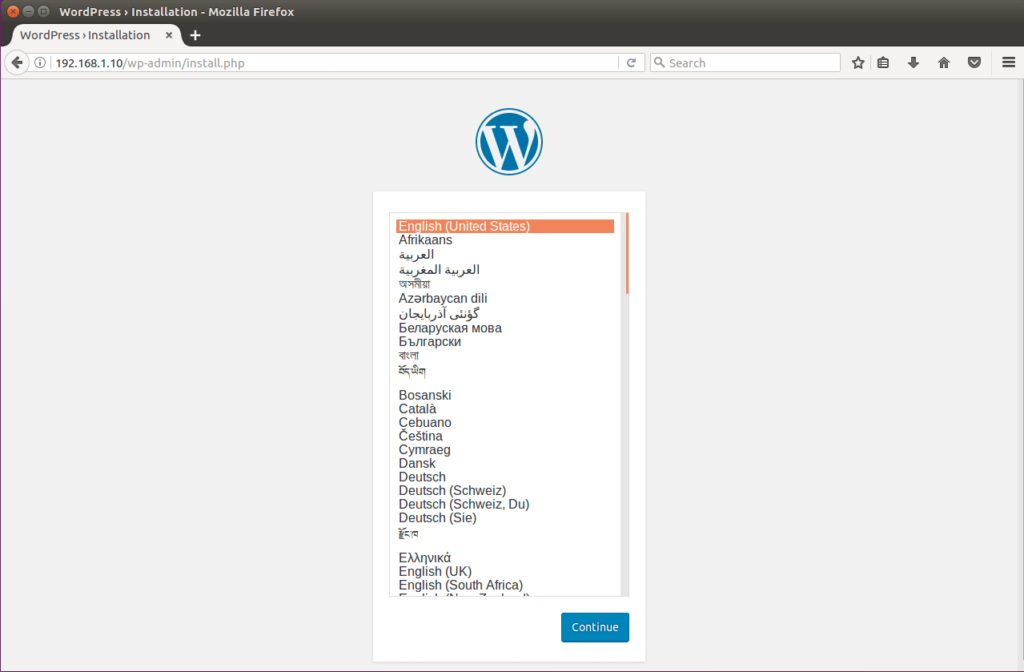 Install WordPress on Ubuntu 16.04 - Select Language