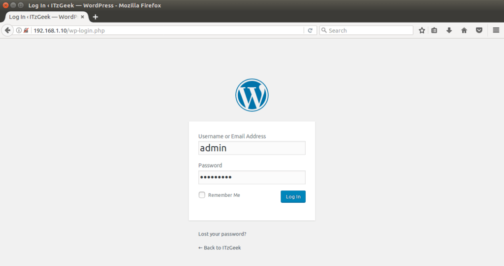Install WordPress on Ubuntu 16.04 - WordPress Admin Login Screen