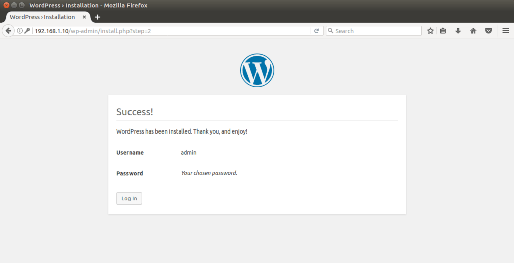Install WordPress on Ubuntu 16.04 - WordPress Installation Completed