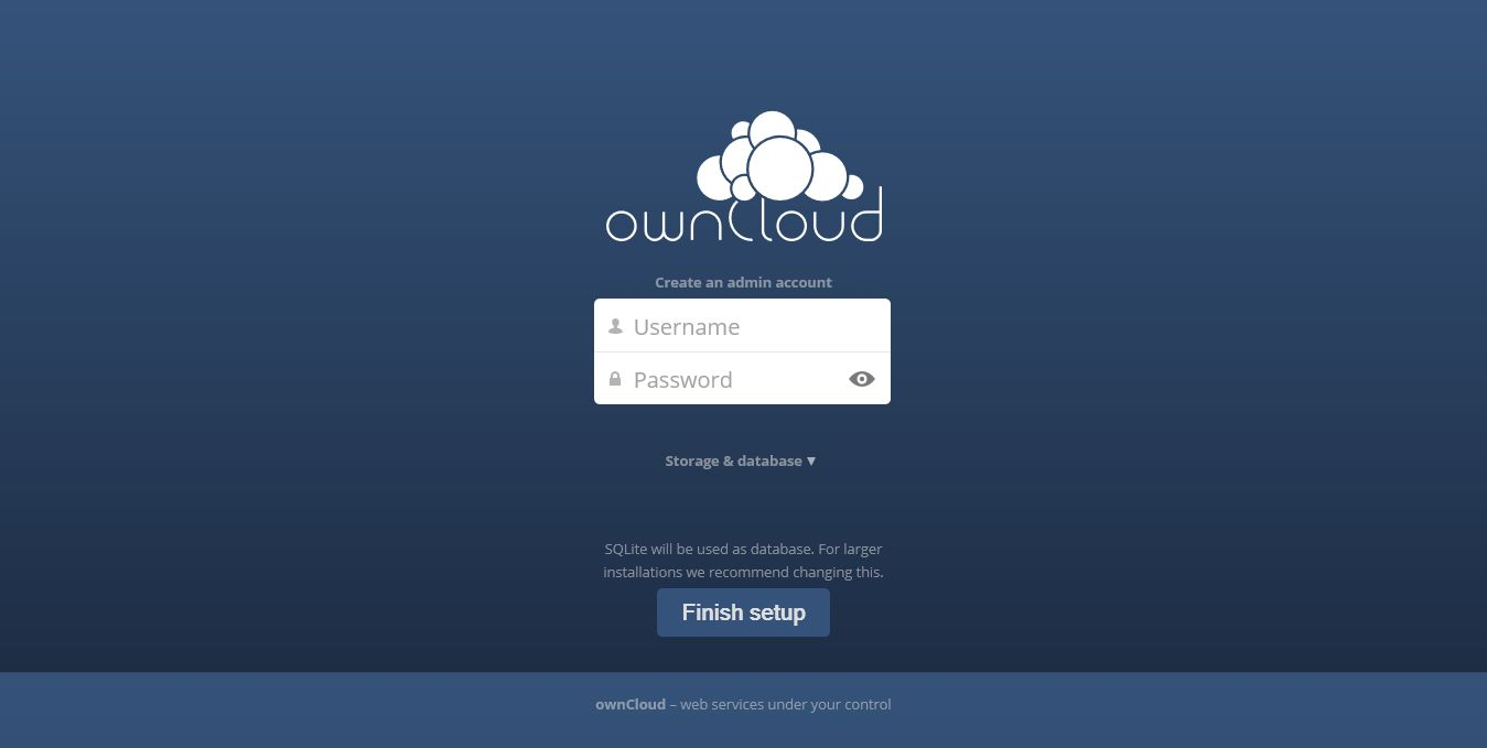 openSUSE 13.2 -  ownCloud 7 Setup Page