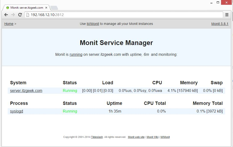 Install Monit on openSUSE 13.2 - Monitored Services