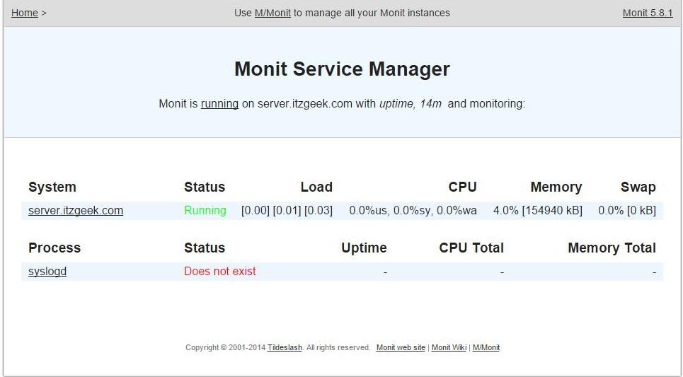 Install Monit on openSUSE 13.2 - Syslog Service
