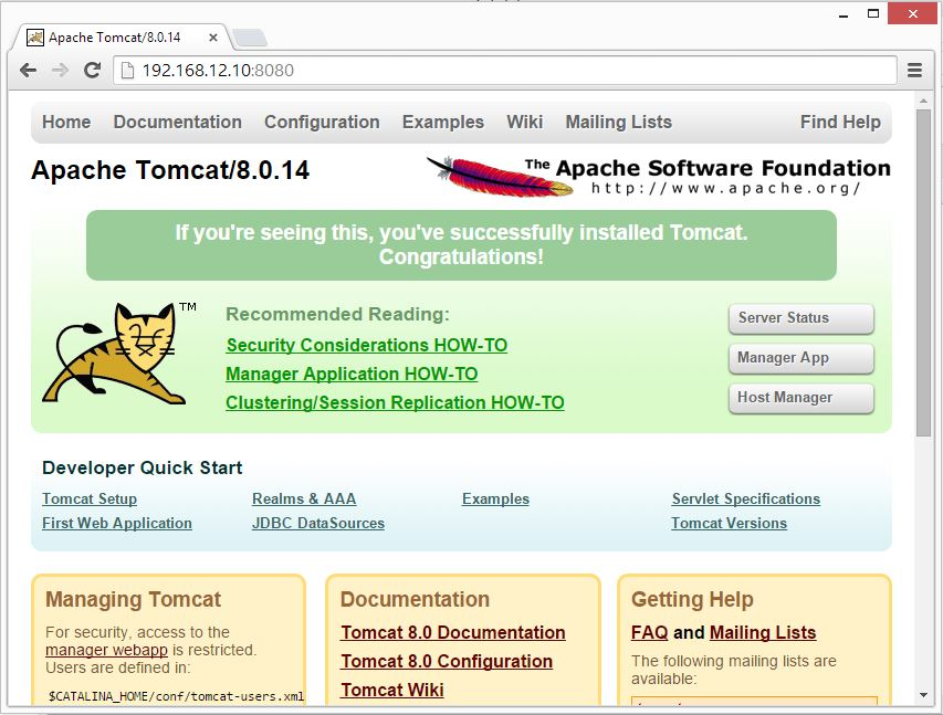 openSUSE 13.2 - Tomcat 8 Home Page