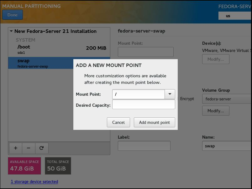 Fedora 21 Server- Manual Partitioning root