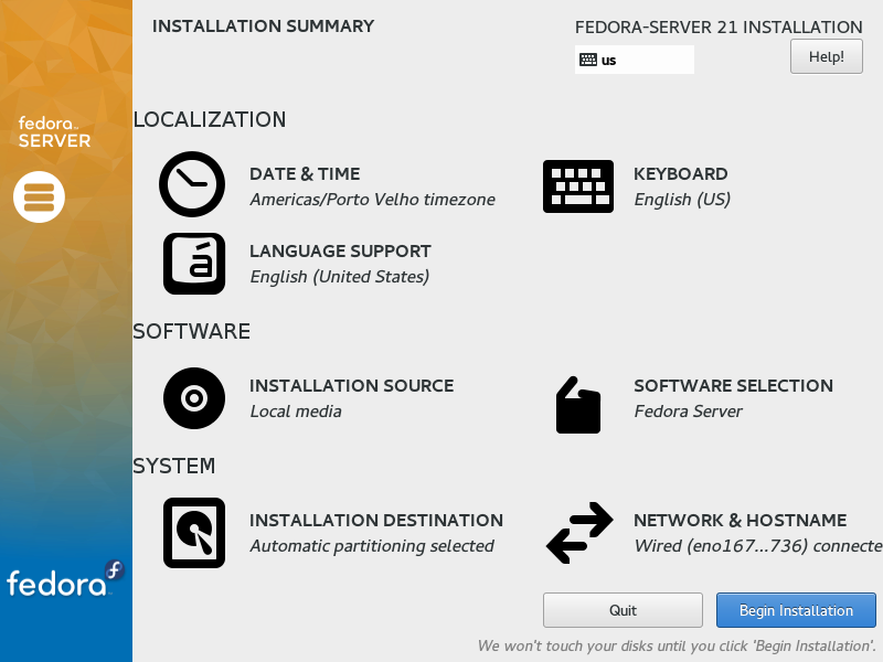 Fedora Server 21 - Begin Installation