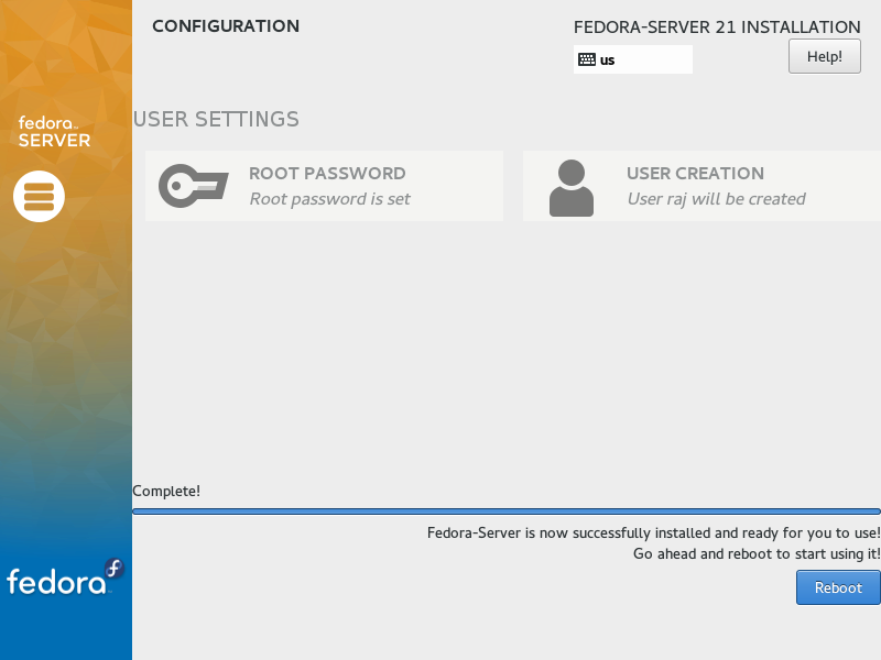 Fedora Server 21 - Installation Successful