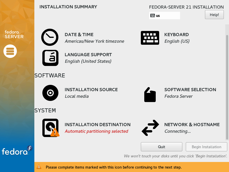 Fedora Server 21 - Installation Summary