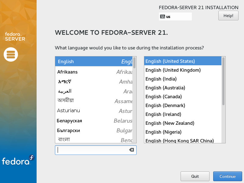 Fedora Server 21 - Select Language