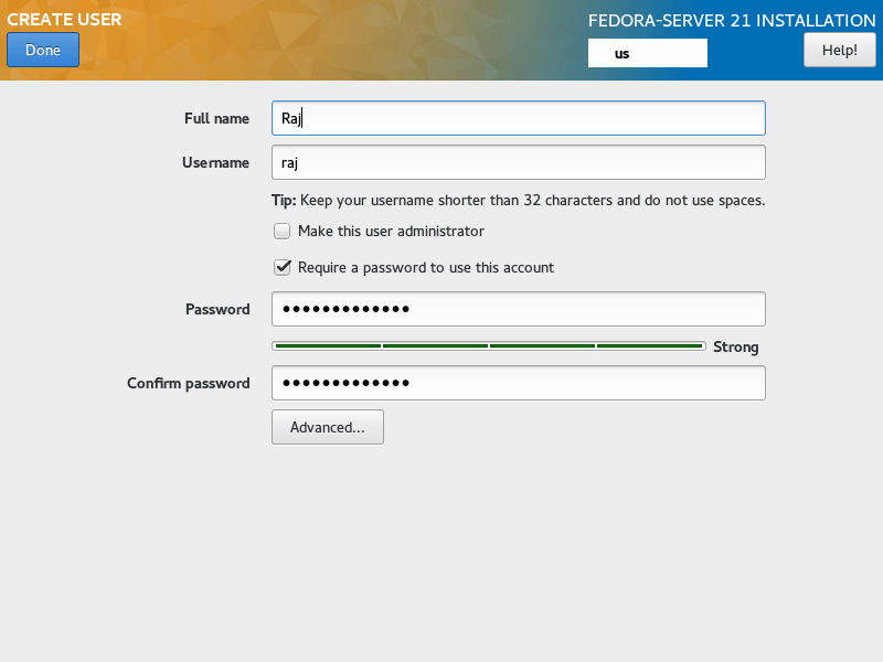 Fedora Server 21 - User Creation