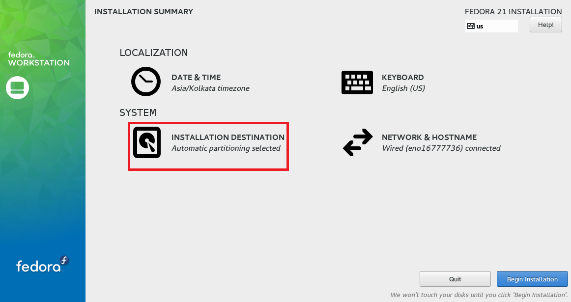 Fedora WS 21 -  Automatic Partition Summary