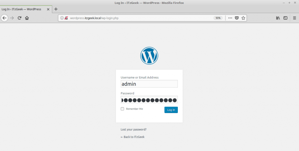 Install WordPress with Nginx on Fedora 27 - WPAdmin Login Page