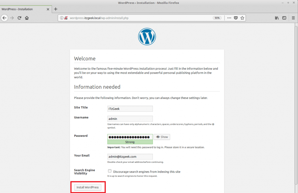 Install WordPress with Nginx on Fedora 27 - WordPress Setup