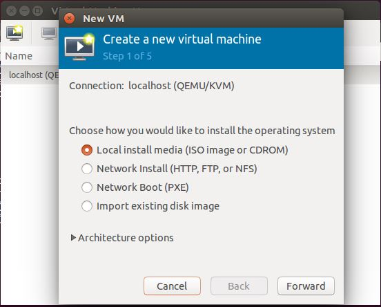 Ubuntu 14.10 - Virt Manager - Create a VM - Choose Installation Type
