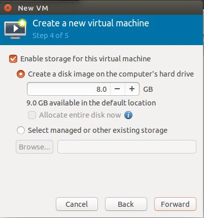 Ubuntu 14.10 - Virt Manager - Storage Allocation