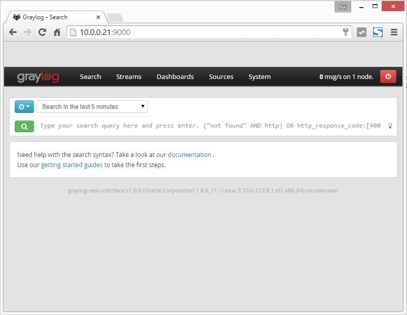 Install Graylog2 - Search Page