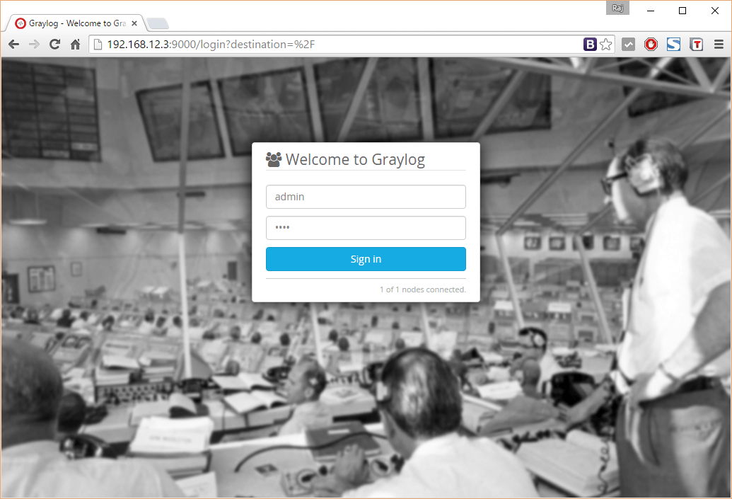 Install Graylog2 on CentOS 7 - Login Screen
