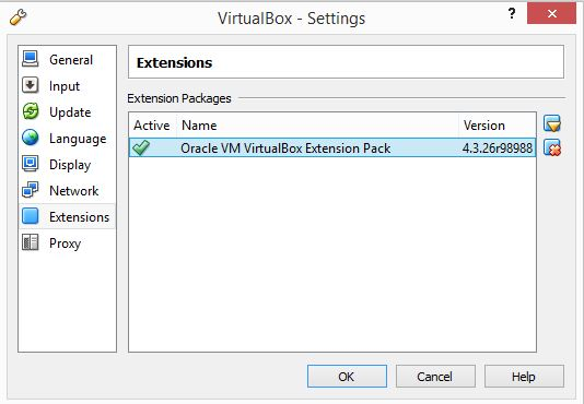 VirtualBox Installation - Extension List