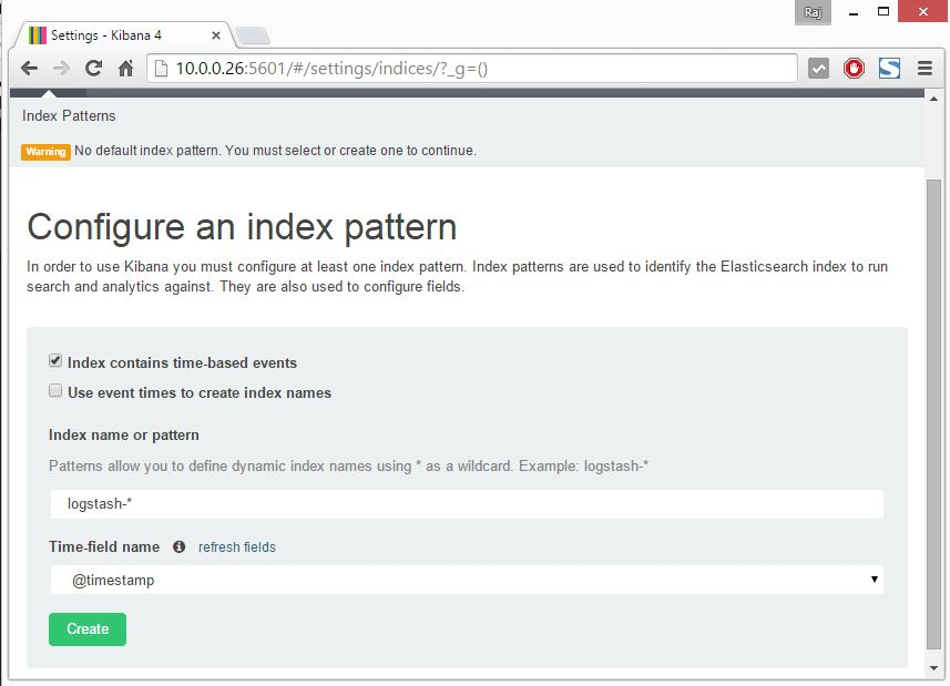 Install ELK - Kibana Index Selection